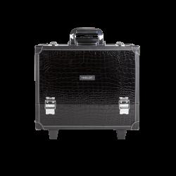 Kufer kosmetyczny duży o wzorze skóry krokodyla z kółkami (KC-PL15)