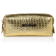 Kosmetyczka złota o wzorze skóry krokodyla mała (R24393)