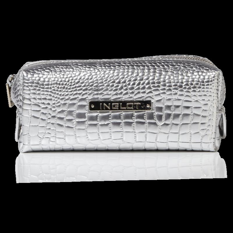 Kosmetyczka srebrna o wzorze skóry krokodyla mała (R24393)