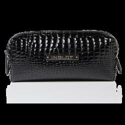 Kosmetyczka czarna o wzorze skóry krokodyla mała (R24393)