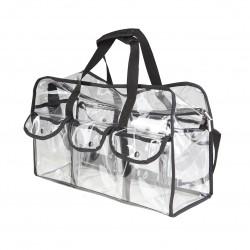Transparentna torba na kosmetyki z kieszeniami